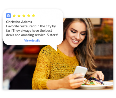 Woman in Restaurant on Cell Phone Review